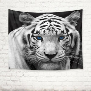 Cool White Tiger Head Tapestry Living Room Bedroom Dorm Home Decor ...