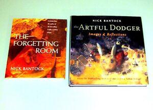 2-books-Nick-Bantock-ARTFUL-DODGER-350-COLOR-ART-IMAGES-Psychedelic-Surrealism