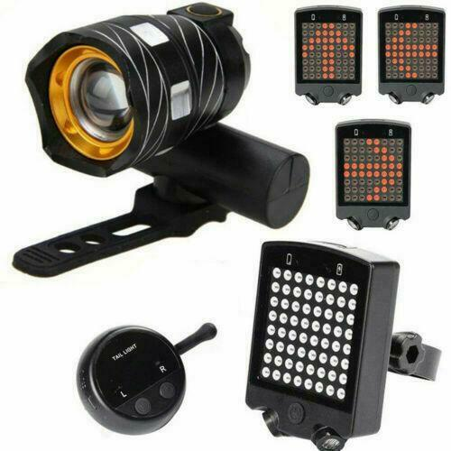 Bike Bicycle LED Headlight /& Wireless Turn Signal Tail Light Kit Rechargeable