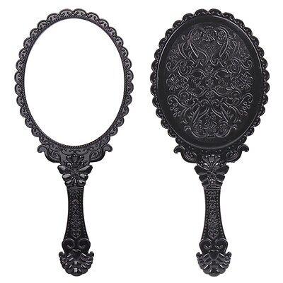Ladies Floral Repousse Vintage Mirror Oval Hand held Makeup Beauty Dresser Black