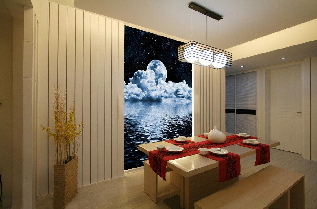3D Moon Clouds Lakes9 Wallpaper Mural Paper Wall Print Wallpaper Murals UK Lemon