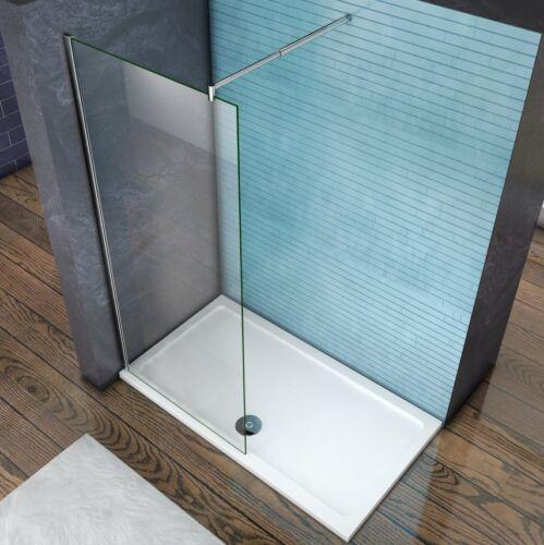 Aica Wet Room Shower Enclosure Screen Panel 8mm NANO Glass Telescopic Bar Chrome