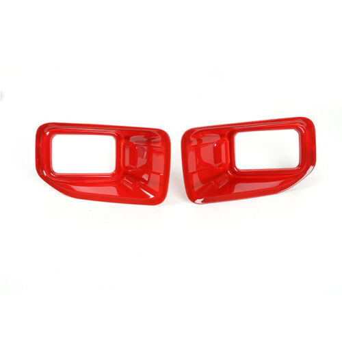 Red Chrome Front Fog Light Lamp Cover Trim For Ford F-150 F150 2015 2016 2017