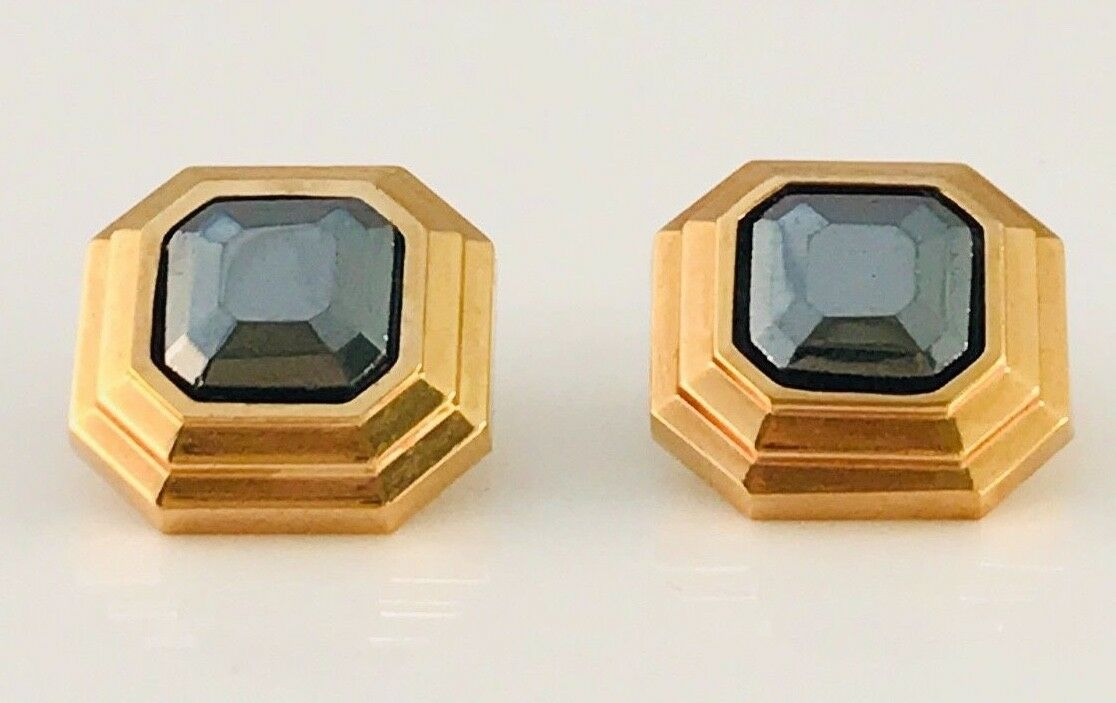 Vintage Lanvin Gold Tone and hematite Square earr… - image 2