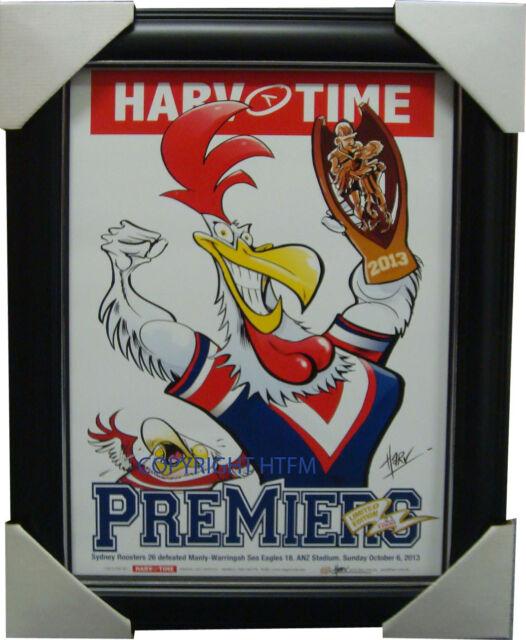 Sydney Roosters 2013 Premiers Harv Time Limited Edition Print Framed NRL