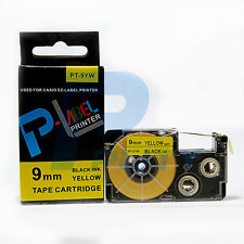 2PK Compatible Casio XR-9YW Black on Yellow Label Tapes 9mm x 8m KL60 XR-9YW1