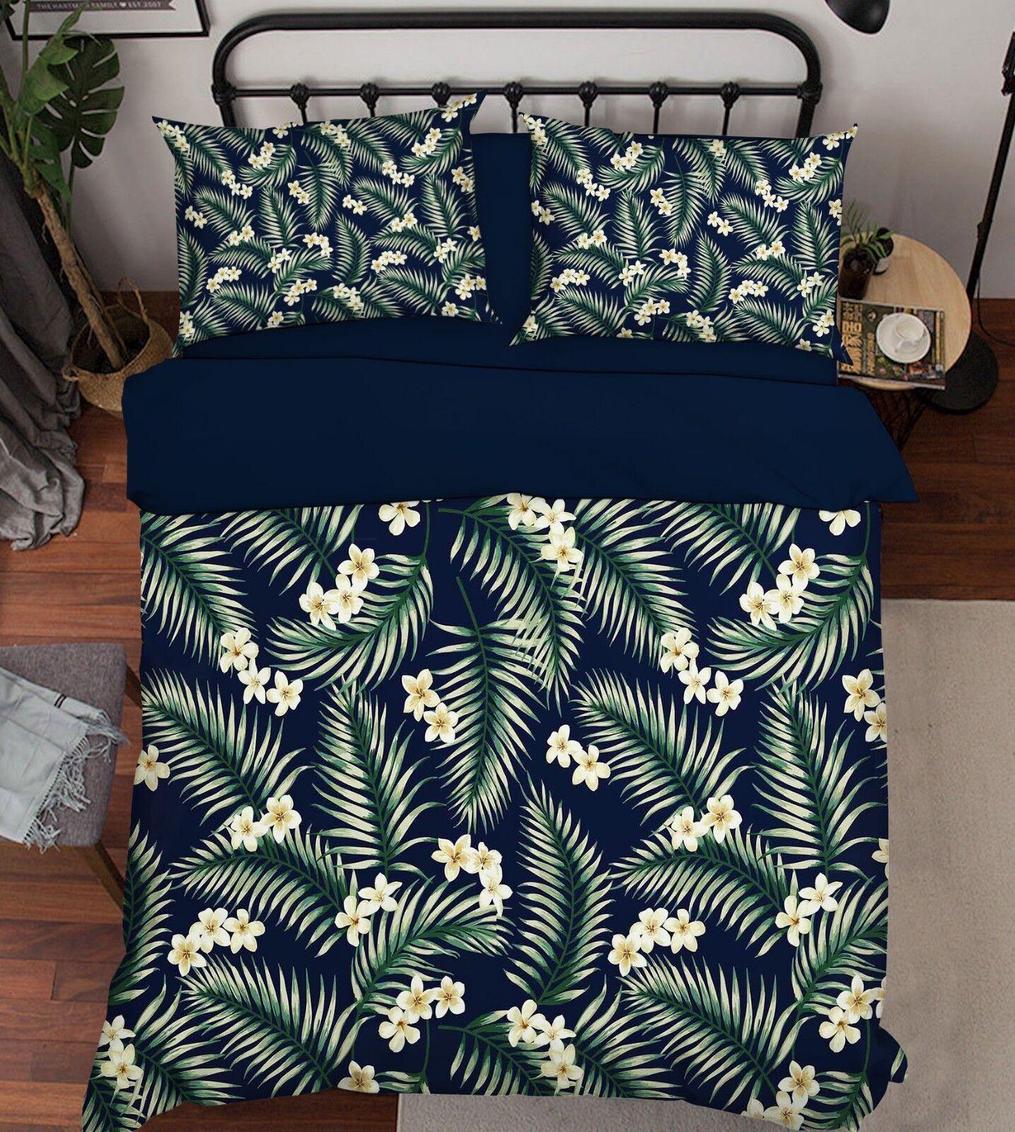 3D Grün Leaf Flower9 Bed Pillowcases Quilt Duvet Cover Set Single Queen King CA