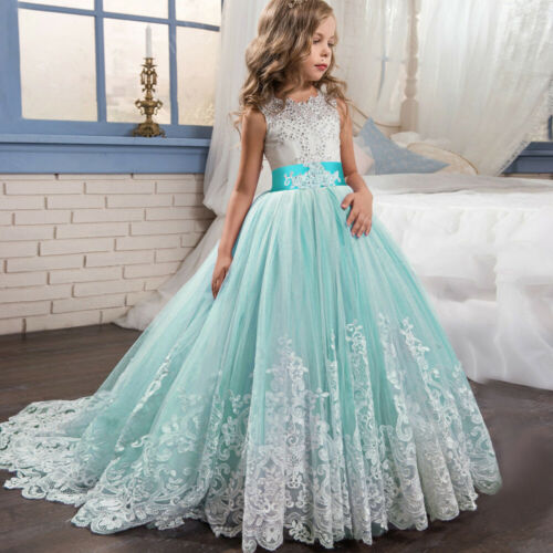 Girls Kid Lace Bridesmaid Maxi Full Dress Party Princess Lace Embroidery Dresses