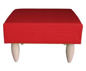 Sgabello pouf pouff poggiapiedi relax con piedini in legno rosso