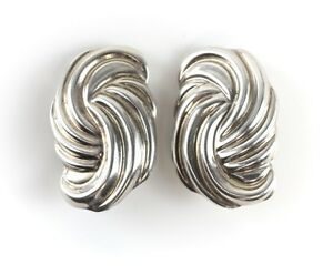 Vintage Mexican Sterling Silver Ribbed Clip On Earrings