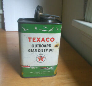 VINTAGE TEXACO OUTBOARD GEAR OIL 2 LB CAN WITH ORIGINAL TUBE LID & CAP