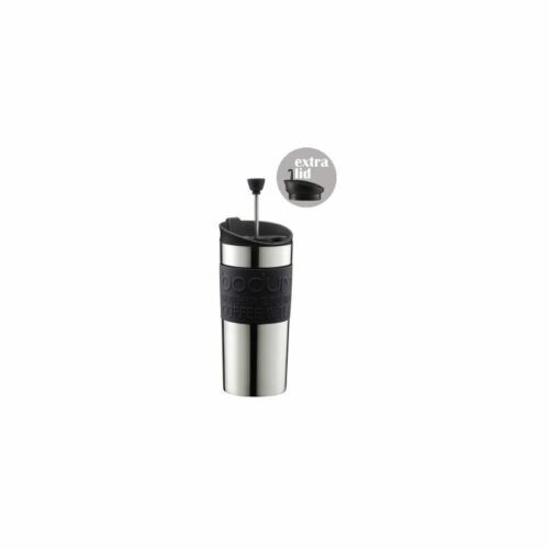 0.35 L 12 Oz Black Bodum Coffee Travel Press With Extra Lid Stainless Steel