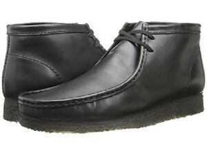 efb4fe42b09 Details about New Clarks of England Wallabee Boots Black Leather Men's  Shoes 35401 Size 8