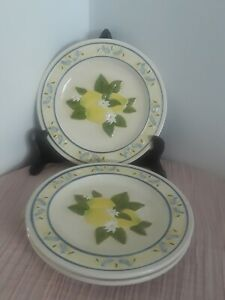 New-MWW-Market-Set-of-3-Salad-Dessert-Plates-Lemons-Embossed-Hand-Crafted-8-034