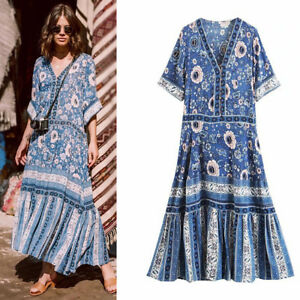 Women-Hippie-Deep-V-Neck-Retro-ethnic-Long-Floral-Print-boho-Chic-Festival-DRESS