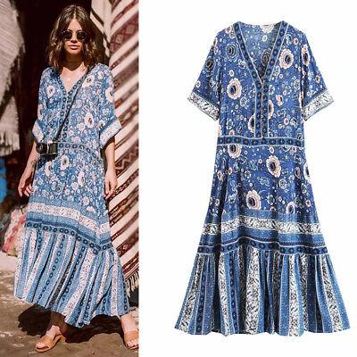 Women Boho Vintage Hippie Deep v Neck ethnic Floral Print Festival DRESS