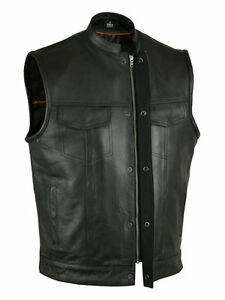 MEN-039-S-SON-OF-ANARCHY-LEATHER-MOTORCYCLE-VEST-2-GUN-POCKETS-INSIDE-ZIPPERS