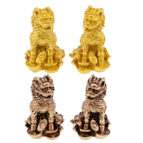 Chinese Fengshui Lions Figurine Statue Resin Ornaments Home Decor Crafts