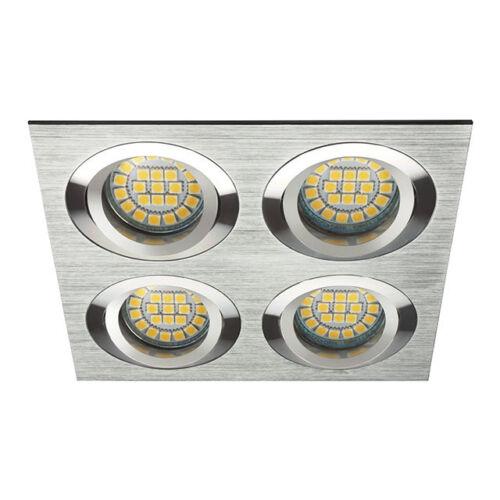 Einbauleuchte SEIDY Einbaurahmen 4-fach Spot gebür Aluminium Deckeneinbauleuchte