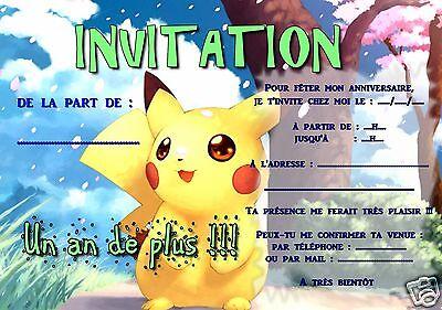 5 ou 12 cartes invitation anniversaire POKEMON ref 290 | eBay