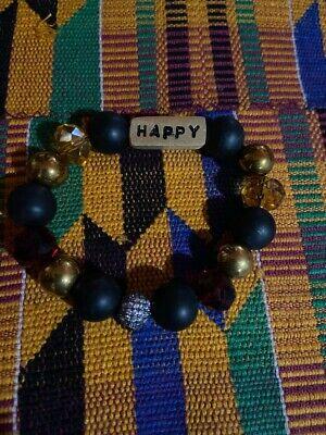 Handmade 18K GP African Krobo Powder Glass Bracelet Bangle Tribal Africa