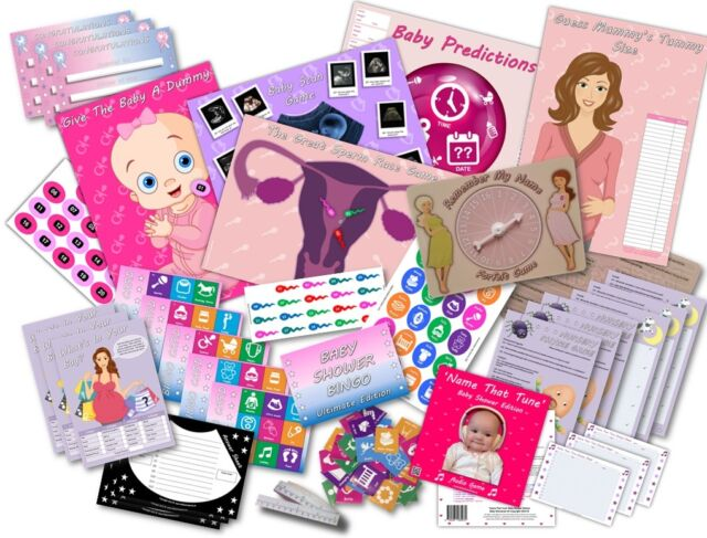 Baby Shower Party Games - 10 GAMES PACK - PINK/GIRL - 20 players