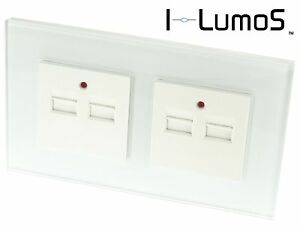 I LumoS Luxury White Glass 2.1A Single and 4.2A Double USB Charger Wall Sockets