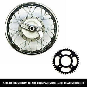 """2.50-10"""" Inch Rear Wheel Rim drum brake sprocket CRF50 XR50 CRF XR 50 Dirt Bike"""