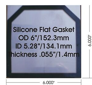 "1 pc High Temp Flat Silicone Gasket for HHO dry cell 1.44 mm or 0.055"" thick"