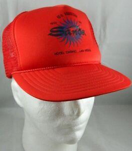 b4d8b9110f9a3 Vtg 1992 Sands Hotel Casino 40th Anniv. Las Vegas mesh trucker hat ...