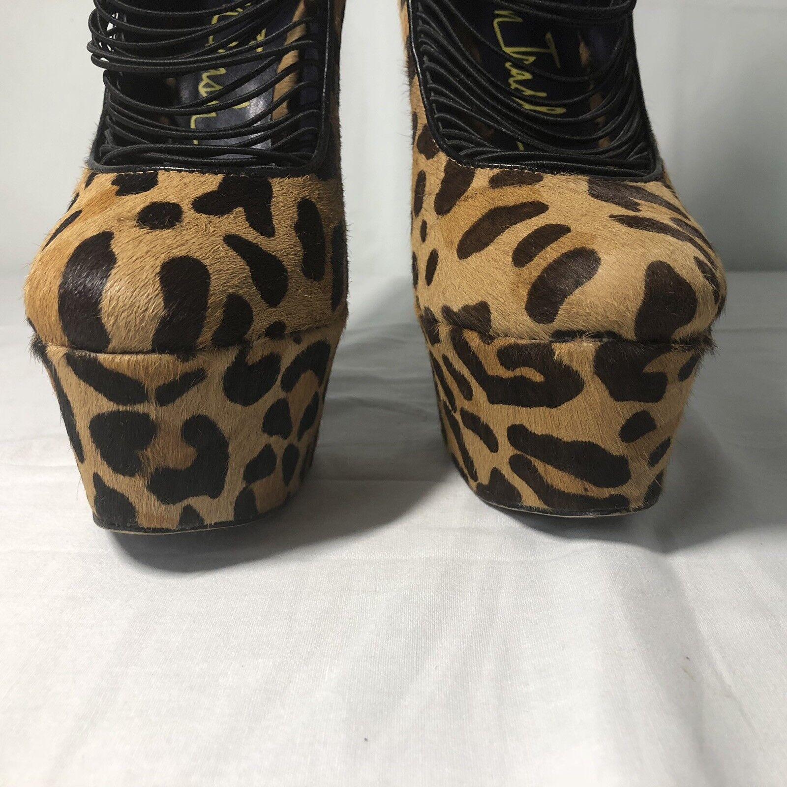 London Trash Größe Größe Größe 9 Leopard Print Pony Hair Platform Drag Runway Stiletto Heels 44c62d