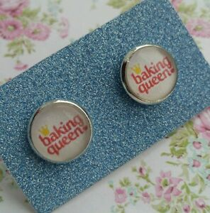 Baking-Queen-Text-Crown-Image-Silver-Plated-Earrings-Gift-Bake-Cupcake-Cook