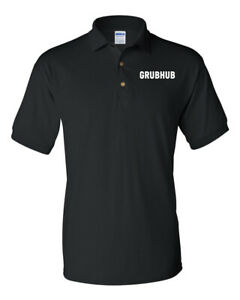 GRUBHUB-FOOD-DELIVERY-MEN-039-S-GILDAN-DRYBLEND-POLO-SHIRT-T-SHIRT-BLACK