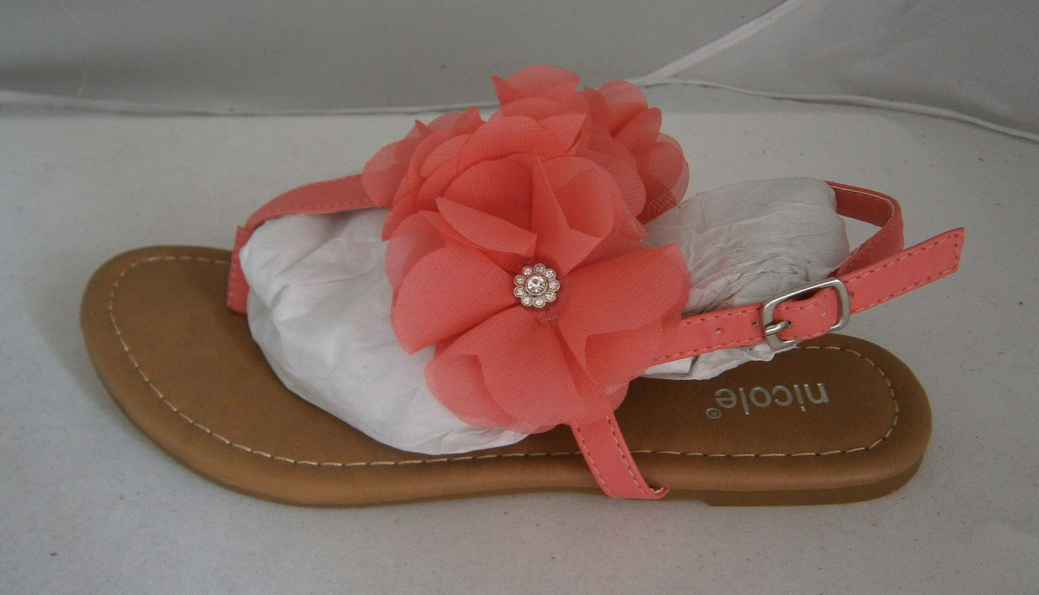 NICOLE SANDALS BRIGHT CORAL OR PINK 6 SLINGBACK CRYSTAL BUCKLE TOE HOLD FLOWER CRYSTAL SLINGBACK dabc5b