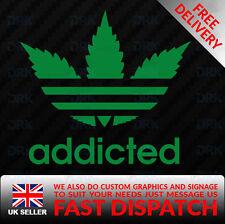 ADDICTED adidas logo Funny Car Van Bumper Window Vinyl Decal Sticker JDM WEED