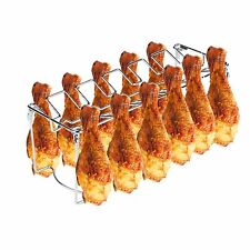 12-Slot Leg Wing Grill Rack Poultry BBQ Bar-B-Q Barbeque Grilling Accessories