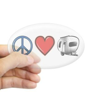124038731 Oval CafePress Peace Love /& Camping Sticker