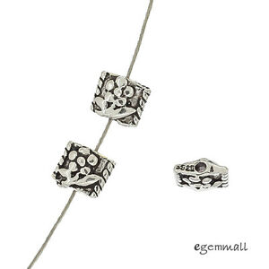 6-Antique-Sterling-Silver-Flower-Square-Spacer-Beads-6mm-Hole-1-0mm-99440