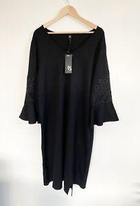 BNWT-Taking-Shape-Dress-Size-M-18-20-Black-Lavish-Blooming-Gorgeous-Midi