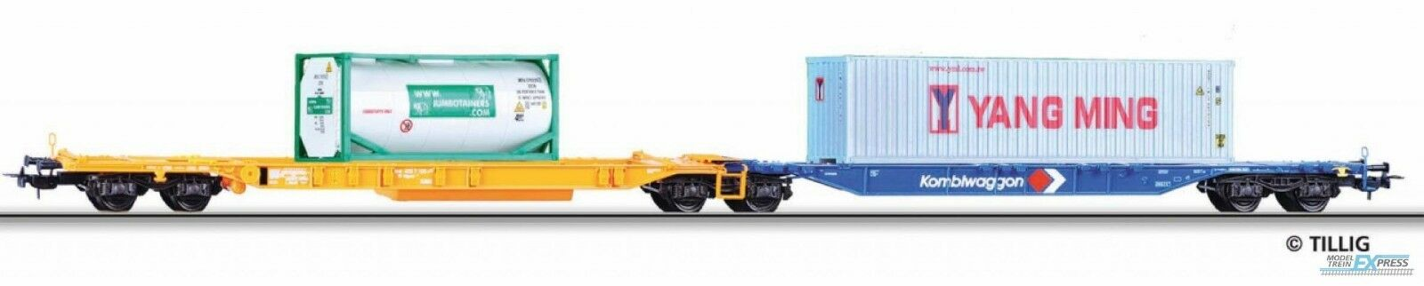 TILLIG 76670 DB Kombiwaggon Sdggmrs 744 arancio/blu, 1 tankcontainer 20' + 1 con