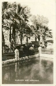 Warner Hot Springs B&W RPPC Real Photo Palm Trees CA California Postcard 1945