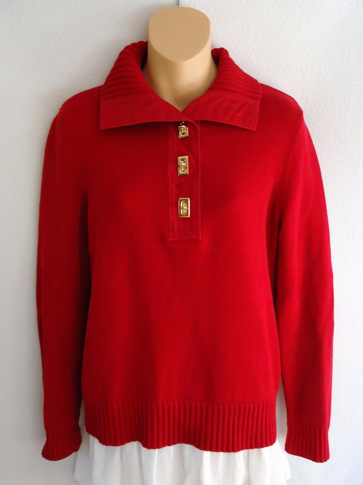 Ralph Lauren Women's Petite Medium PM Sweater Red gold Hardware Cotton