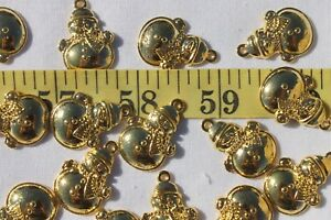 17x25mm-Cute-Christmas-Snowman-Jewelry-Making-Pendant-Charm-Golden-RS35-15pc