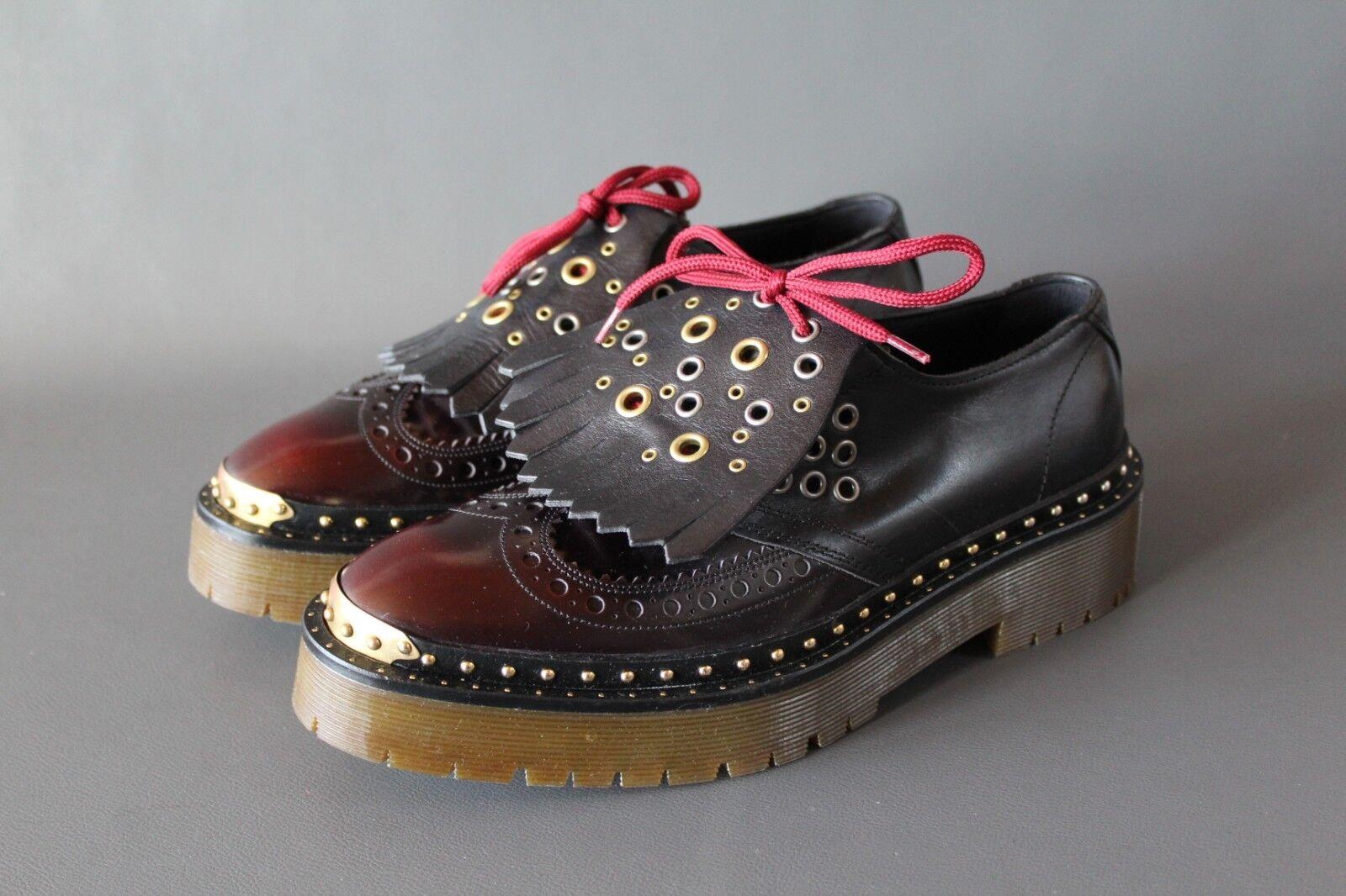 BURBERRY femmes chaussures EUR 41 Mocassins Cuir Cuir Cuir Rivets Made In  Nouveau 37f00c