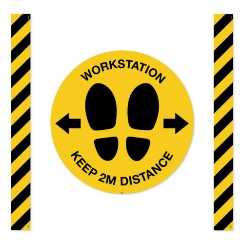 Mandatory Virus Protect Safety Workstation Keep 2m distance Sign Floor markers