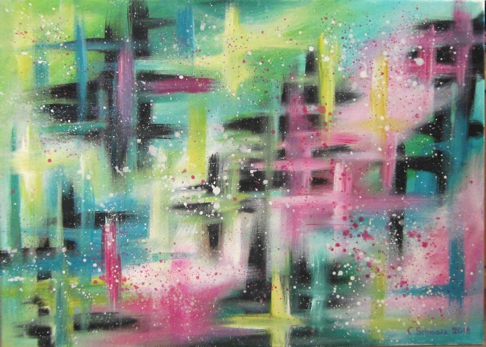 Abstraktes Acrylgemälde auf Leinwand, Wandbild, moderne Malerei, Bild, bunt Deko