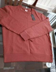 Large-Men-039-s-M-amp-S-Sweatshirt-Jumper-Terracotta-Pure-Cotton-48-chest-bnwt
