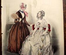 LE FOLLET 1845 Hand-Colored Fashion Plate #1222 Toilette de Spectacle ORIG.PRINT