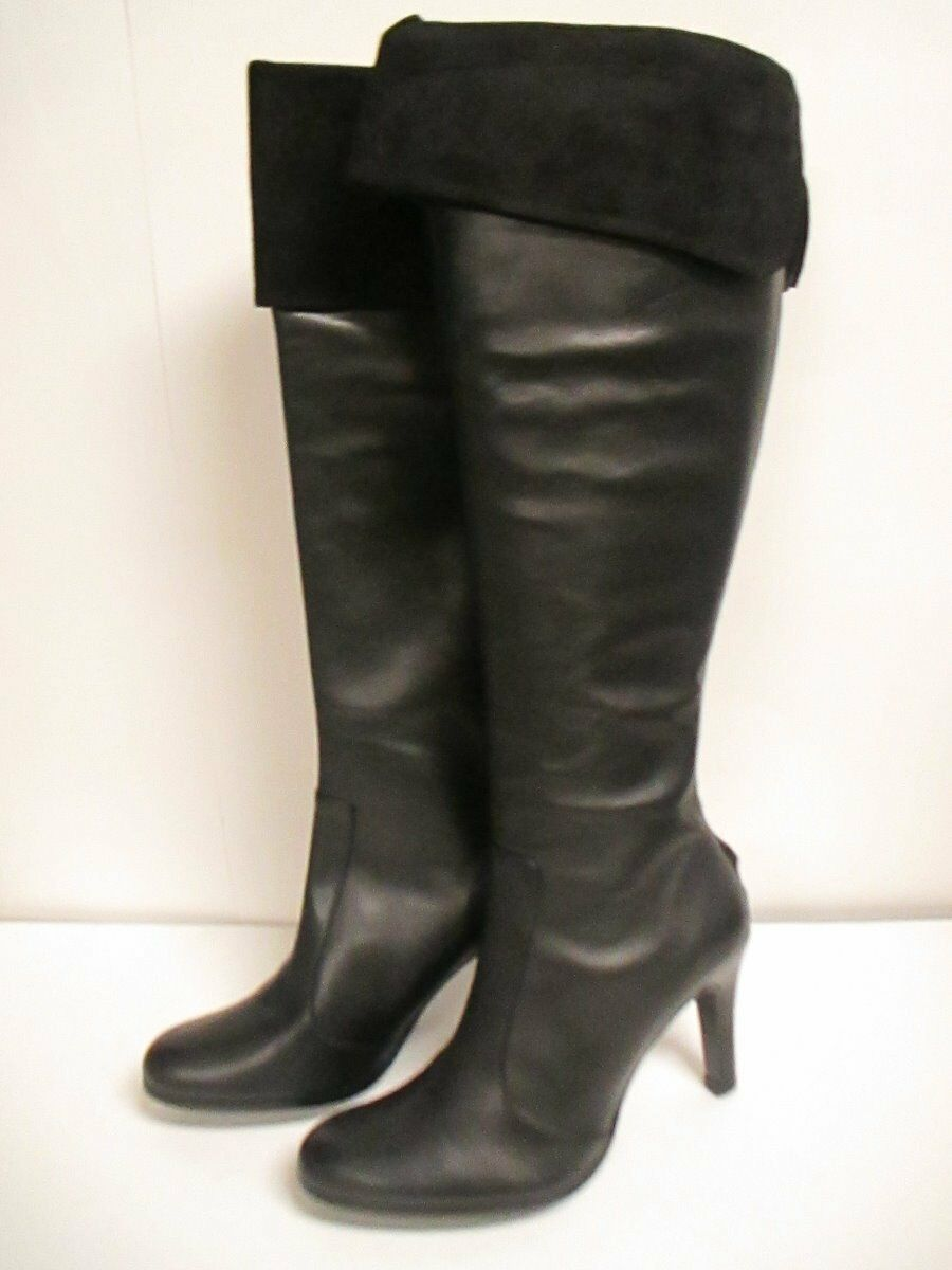 Ralph Lauren Beatrice Knee High Boot Black Nappa/suede  New with Box