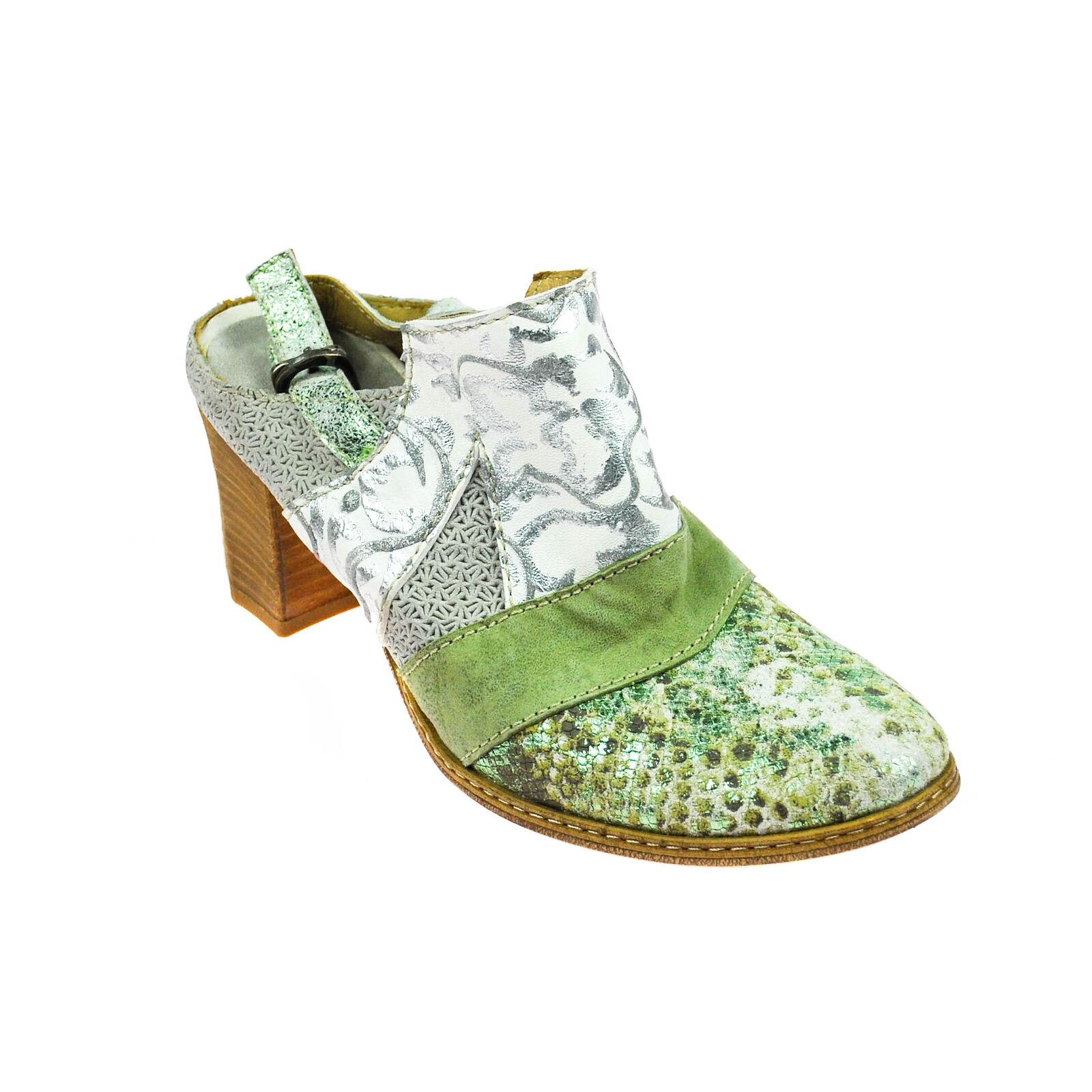 Charme Damen Halbschuhe offen Sandalen Leder Silber Weiß Grün Grau Mehrfarbig